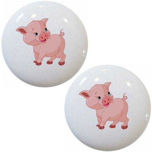 Set of 2 Baby Pig Farm Animal Ceramic Cabinet Drawer Pull Knobs