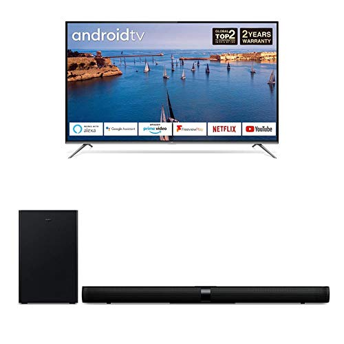 TCL EP658 55-Inch 4K Ultra HD Smart Android TV plus TS7010 Soundbar TV with Subwoofe
