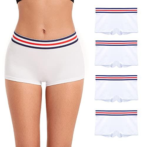 ZLYC Damen-Boyshorts aus Baumwolle, bequem, atmungsaktiv, Stretch-Unterwäsche, Weich, Mittel 4 Pack Weiß