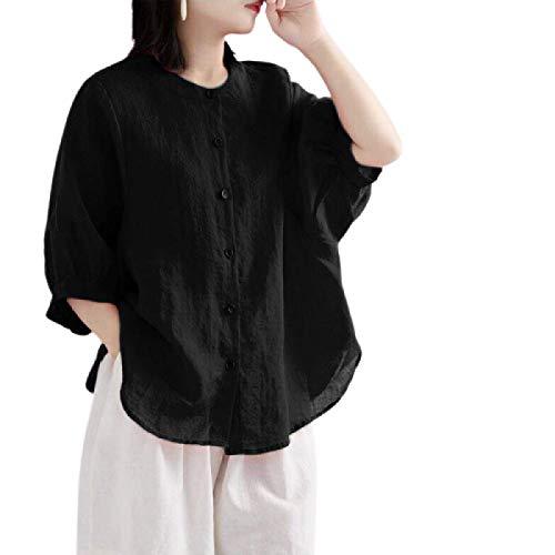 Camisa de Manga Larga de Verano para Mujer, algodón y Lino, Moda, Cuello Redondo, Talla Grande, Suelta, Delgada, Color sólido, Camiseta Informal M