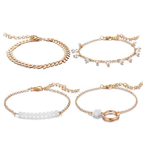 YIKOUQI 4 unids/Set Pulseras de Flores de aleación de Oro Bohemio para Mujer, joyería geométrica Hueca de Hoja de Cuentas Blancas