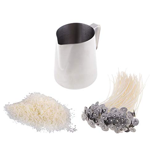 IPOTCH Kit para Fabricar Velas, Herramientas De Bricolaje para Velas, Herramientas para Manualidades, Vajilla, Mechas Y Cera De 500 G