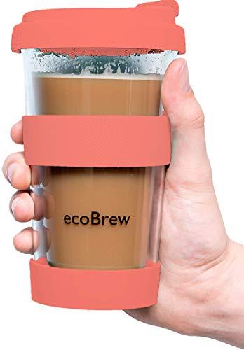 Glas Kaffeebecher to Go | Doppelwandig Isolierung Kaffeetasse | 340 ml Travel Mug mit sicherem Silikon Deckel | Coffee Becher für zu Hause, Büro oder Auto | Lebende Koralle