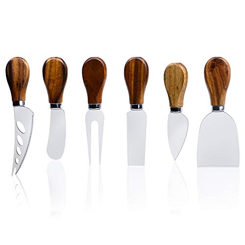 ONIPU Cheese Knives with Wood Handle Stainless Steel Cheese Slicer Cheese Cutter Cheese Fork,...