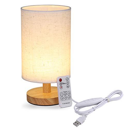 Tischlampe mit Fernbedienung, KWOKWEI Nachttischlampe Dimmbar aus Holz und Leinen, Schreibtischlampe mit Zeiteinstellung, 6 Helligkeitsstufen Tischleuchte für Schlafzimmer Wohnzimme Kinderzimmer