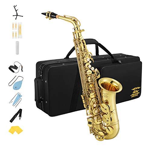 Eastar Altsaxophon AS-Ⅲ Commander E Flache Saxophon mit Tragetasche Reinigungstuch Korkfett Gurt Saxophonständer