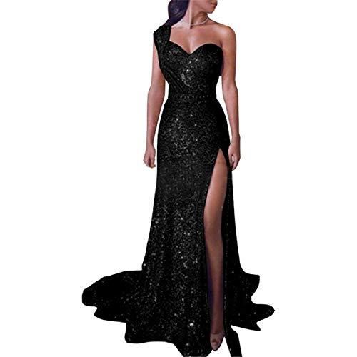 wechat winkel 2019 Mode SexyStrapless Mouwloos Avond Prom Formele Gowns Lange Staart Pailletten Jurken Vestidos Robe, Zwart, 12,Vloer Lengte