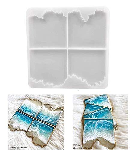 ResinWorld - Moldes de resina de ágata, posavasos de silicona con forma irregular, diseño de geoda de ágata para hacer tazas, posavasos de ágata de geoda, decoración del hogar