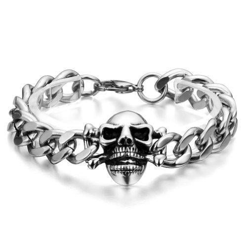 JewelryWe Schmuck 21cm Gothik Schädel Totenkopf Armband, Edelstahl Armreif, Farbe Silber