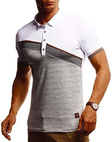 Leif Nelson Herren Sommer T-Shirt Poloshirt Slim Fit aus Feinstrick Cooles Basic Männer Polo-Shirt Crew Neck Jungen Kurzarmshirt Polo Shirt Sweater Kurzarm LN55165 D. Weiss Grau Melange Large