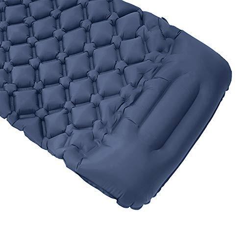 jieyun - Colchoneta inflable para acampar con bomba de pie integrada, colchón de aire compacto para senderismo, viajes, playa, infla completamente en 25 segundos, ultraligera, portátil y resistente al agua (azul oscuro)