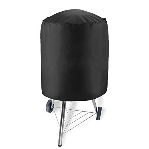 WYBFBYQ BBQ Grill Cover, Zwart Rond Waterdicht Winddicht BBQ Barbecue Gas Grill Cover voor Ketel Stijl