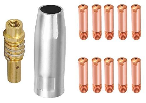 NO CYJZHEU Boquillas Consejos de Contacto, 1 Boquilla de Gas 1 Soldadura Soporte de Punta y 10 Puntas de Contacto accesorios consumibles para soldador MIG Fit para 15AK Torch Gun Soldadora 1.0MM