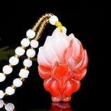 sdfpj Natural Rojo Blanco Jade Nine-tailado Fox Colgante Collar Colgante Chino Tallado de Moda Accesorios de joyería Amuleto para Mujeres Regalos