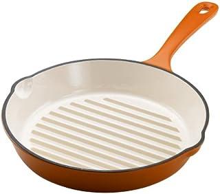 Rachael Ray 11-Inch Cast-Iron Round Grill Pan, Orange