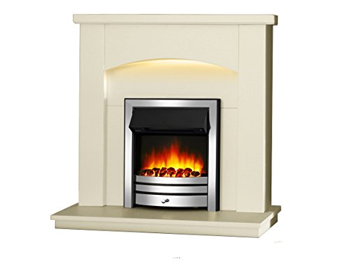 """Endeavour Fires New Cayton Electric 42""""Fireplace Suite, fitted with Chrome Trim and Fret, 220/240Vac 1&2kW with 7 day Programmable Remote Control in off white MDF fireplace suite."""