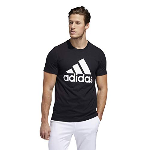 adidas mens Basic Badge of Sport Tee Black/White Large