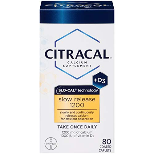 Citracal Slow Release 1200, 1200 mg Calcium Citrate and Calcium Carbonate Blend with 1000 IU Vitamin D3, Bone Health Supplement for Adults, Once Daily Caplets, 80 Count