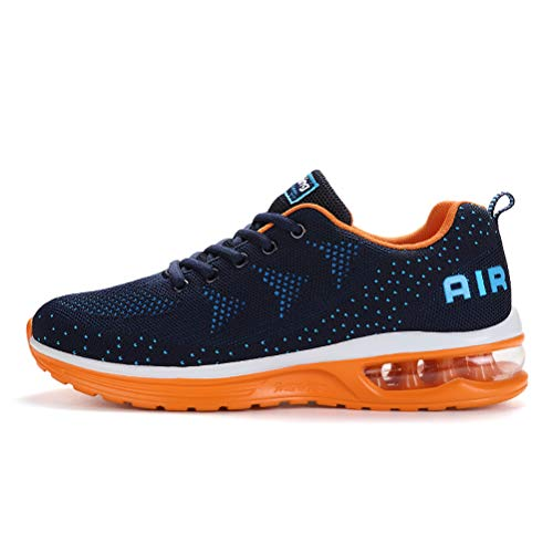 populalar Herren Damen Laufschuhe Turnschuhe Sportschuhe Straßenlaufschuhe Sneakers Atmungsaktiv Trainer für Running Fitness Gym Outdoor Leichte-BlueOrange41