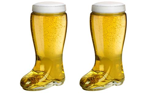 Das Boot Style One Liter Beer Glass (Set of Two) - Oktoberfest Themed Large Oversize German Stein that Holds Over 2 Bottles - Perfect For Parties, Drinking Game and Festivals