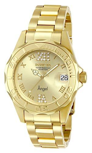Invicta 14397 Angel Reloj para Mujer, Acero inoxidable, Color Oro