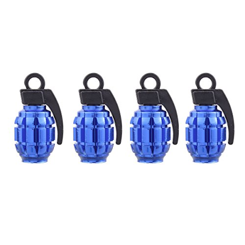 TOMALL Tyre Valve Blue Wheel Tire Valve Stem Caps Grenade Shape Style...