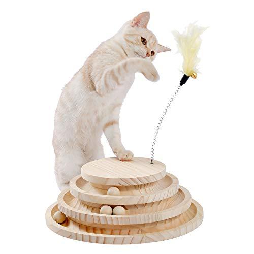 PAWZ Road 猫おもちゃ 猫のおもちゃ 木製 遊ぶ盤 回転 ボール 猫じゃらし 据え置き おもちゃ付き 羽棒付 知育玩具 安定 子猫 多頭飼い 転倒防止 省スペース コンパクト猫玩具 遊び場