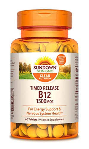 Sundown Vitamin B-12 1500 mcg, 60 Time Release Tablets (Pack of 3)(Packaging May Vary)