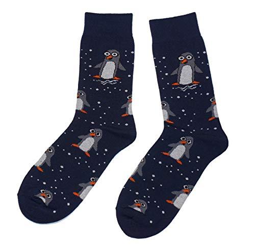 Weri Spezials Frohe Weihnachten Herren Socken mit lustigen Weihnachtsmotiven! In mehreren Mustern- und Farbvariationen! (43-46, Marine Pinguine)