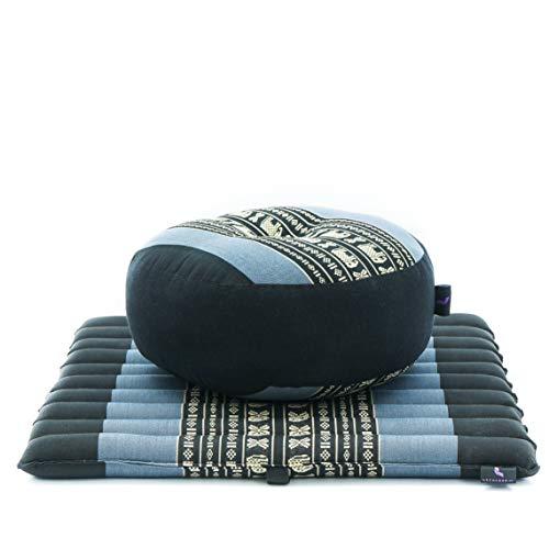 Leewadee Mini Set da Meditazione: Piccolo Cuscino Zafu e Tappetino Zabuton, Kit Tailandese per meditare Ecologico in kapok, Blu