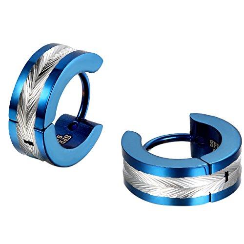 JewelryWe joyas para pendientes, diseño de plumas para hombre, diseño de anillos con bisagra Bling Bling acero inoxidable para hombre, diseño de fantasía con Bolsa de regalo (colores opcionales)