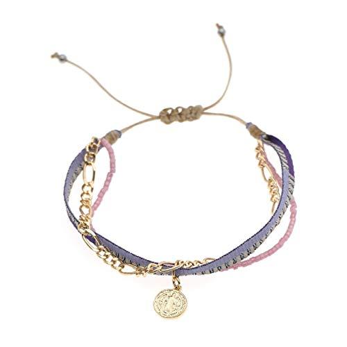 XHJLNNY XINHEJULN Pulsera de Encanto Ladies Multi-Capa Joyería Ajustable Cuerda Brayed Jewelry Pulsera Duradero. (Color : ZDB200006A)