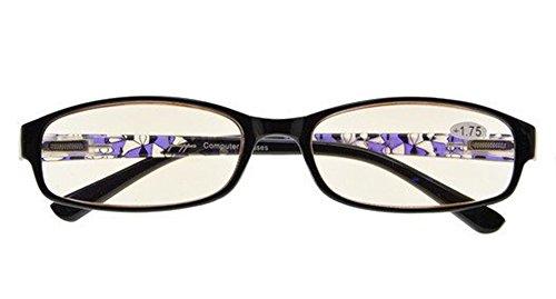 Ladies Blue Light Filter Glasses,Small Computer Reading Glasses Women Readers(Purple) +0.5