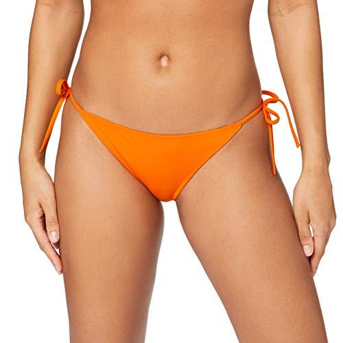 Calvin Klein Cheeky STurkeyING Side Tie Bikini, Naranja Mandarina, L para Mujer