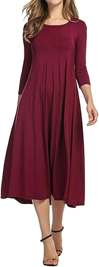 XTX Women 3/4 Sleeve A-Line Solid Color Casual Plus Size Round Neck Cocktail Party Midi Dress Wine Red XXL