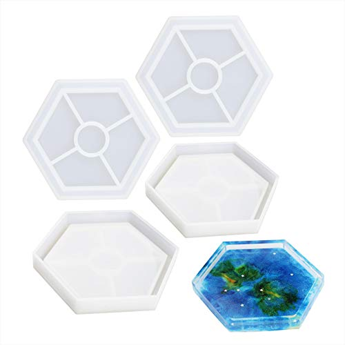 LETS RESIN Silicone Coaster Molds for Resin,Hexagon Silicone Molds,Epoxy Resin Coaster Molds for Making Coasters, Bow Mat, Jewelry Holder
