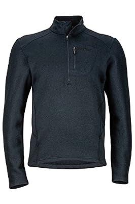 Marmot Men's Drop Line 1/2 Zip Pullover Lightweight 100-Weight Sweater Fleece Jacket, Jet Black, X-Large