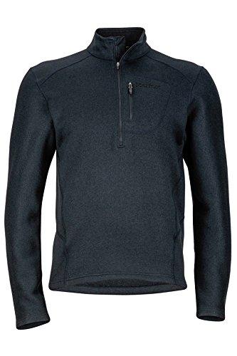 Marmot Drop Line 1/2 Zip Men's Pullover Jacket, Lightweight 100-Weight Sweater Fleece, Jet Black, Large