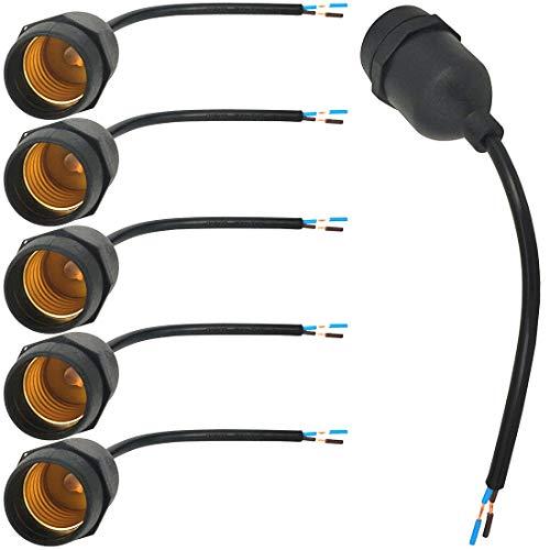ZDCDJ 6pcs E27 Lampenfassung Adapter Wasserdichter Lampenhalteradapter E27 Lampensockel mit Kabel Fassung Adapter Sockel