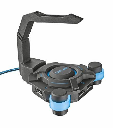 Trust GXT 213 USB Hub mit Mouse Bungee, 4 Anschlüssen und integriertem Mauskabelhalter