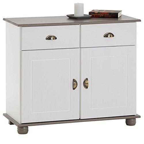 IDIMEX Buffet Colmar Commode bahut vaisselier Meuble Bas Rangement avec 2 tiroirs et 2 Portes battantes, en pin Massif lasuré Blanc et Taupe