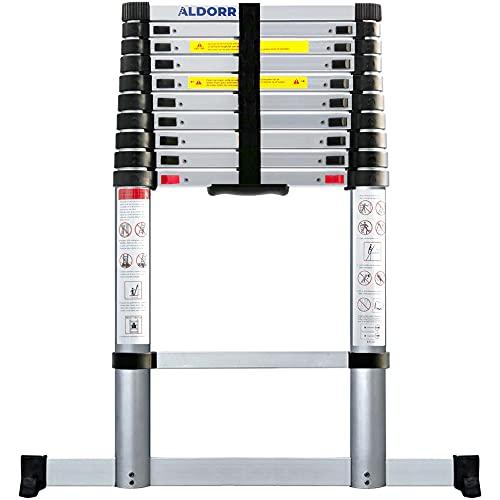 ALDORR 3,20M Escalera Telescópica Multifunción   Escalera Aluminio Extensible   Máximo 150 kg   Cierre Suave (EN131)