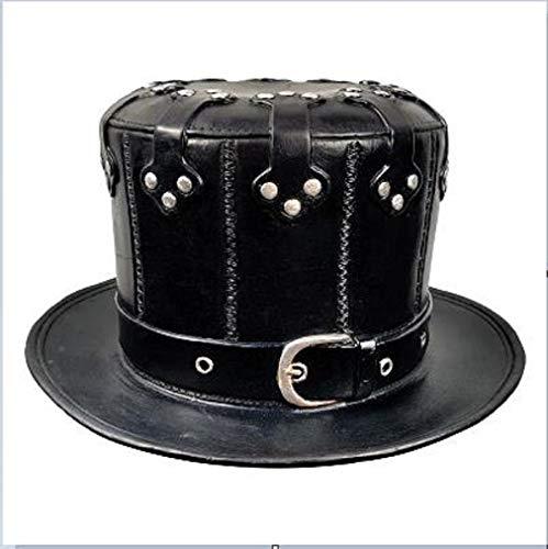 HUAZONG Máscara de doctores de la plaga steampunk, gótico, cosplay retro, steampunk, máscara de pájaro, accesorio de disfraz de Halloween, JZS-Plague Doctors Mask-002, Sombrero de cuero negro, L