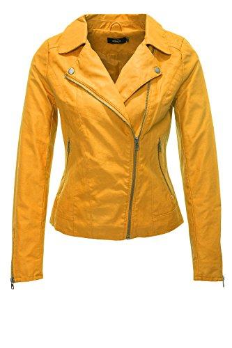 ONLY Damen Bikerjacke Kunstlederjacke Übergangsjacke Damenjacke (36, Golden Yellow)