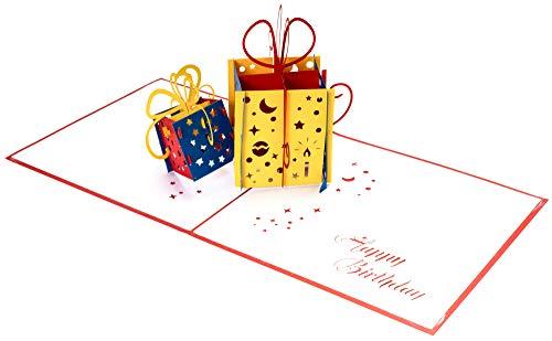 3D Geburtstagskarte – 2 bunte Geschenke – Pop up Karte, Glückwunschkarte Geburtstag, Grußkarte, Geschenkkarte als Gutschein oder für Geldgeschenk, Happy Birthday Card, Geburtstagskarten - 7