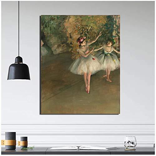 WTHKL Edgar Degas Dos Bailarines en el Escenario Pintura sobre Lienzo Carteles Impresiones Mármol Arte de la Pared Pintura Imagen Decorativa Decoración para el hogar -50x70 Cm Sin Marco