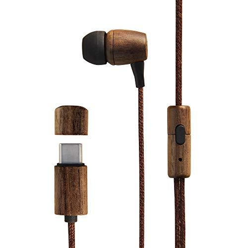 Energy Sistem Earphones Eco (Auriculares, Type C, In-Ear, Sustainable Wood, Hemp Cable, Mic, Control Talk) Madera de Nogal