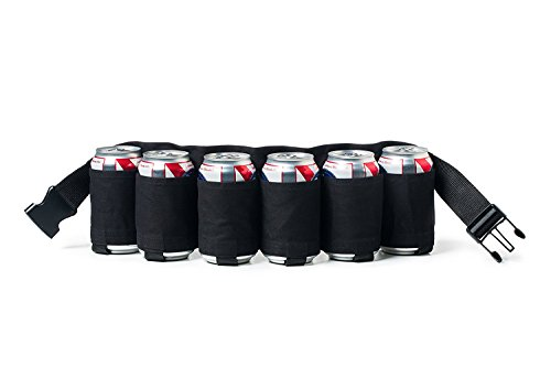 Service21 Getränkehalter Gürtel in Schwarz für bis zu 6 x 0,2l-0,5l Dosen & Flaschen, Festival Ausrüstung