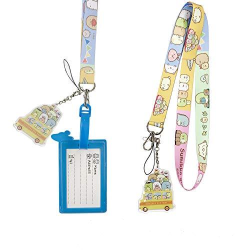 Cute Lanyard for Key, ID Badge Holder Lanyard for Women Girls Kids, Cartoon Animal Lanyard for Keys with Keychain and Charm Pendant(Sumikko Gurashi)