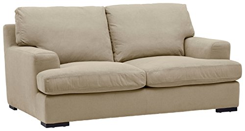 """Amazon Brand – Stone & Beam Lauren Down-Filled Oversized Loveseat with Hardwood Frame, 74""""W, Fawn"""